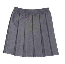 Grey Elasticated Box Pleat Skirt